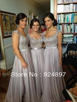 Hot Sale Shoulder Strap Long Florr-length Chiffon 2014 Bridesmaid Dress(asa001)