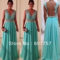 2014 Top Quality Double Straps Blue Chiffon Lace Applique Beading  Party Dress Evening Dress W471 Size 2-4-6-8-10-12