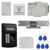 DIY 125KHz RFID LCD Fingerprint Keypad ID Card Reader Access Control System Kit + Electric Strike Lock + Door Bell  208I-S