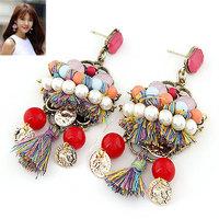 Fashion Bohemia Big Earrings Vintage Women's Pearl Tassel Earrings Drop Earring Free Shipping