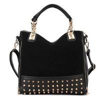 2014 real hot sale cell phone pocket rivet casual yes hotsale pu leather women handbag ppular practical shoulder bag handbags