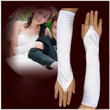 """12 """"Guantes Prom Blanca tramo satinado vestido de boda nupcial Custume Opera sin dedos gratuito y de la gota 2014 ventas calientes(China (Mainland))"""