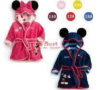 Retail! 1 pc Baby Boy /Girl Minnie/Mickey bathrobe Soft Coral fleece Children's bathrobes Hooded Baby clothing Bath towel