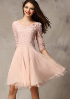 Free Shipping 2013 New Fashion Women Casual Pink Half Sleeve Lace Bead Chiffon Dress