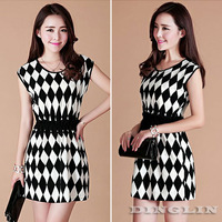 New Elegant Women Ladies O-Neck Geometric Plaid Contrast Empire Chiffon Elastic Waist Party Casual Novelty One Piece Dress 1224