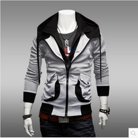 New fashion good quality men's double collar Sweatshirts ,Silm Fit Zipper Classic Hoodies for men,SIZE XXL,free shipping