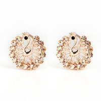 Free shipping 2014 New Fashion Alloy 18 K Gold Plated Peacock Rhinestone Earrings For Women Stud Earrings Wholesale