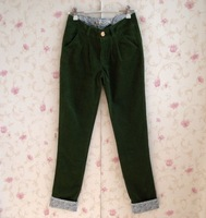 Female corduroy casual pants slim applique roll-up 0.34 hem skinny pants