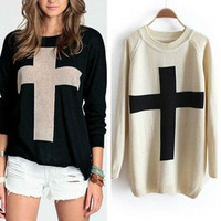 Free Shipping 2014 Hot Sale New Fashion Womens Cross Pattern Knit Sweater Outerwear Crew Pullover Tops #S0450