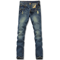 Retro finishing hole jeans slim straight denim trousers male trousers quality water wash denim