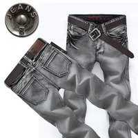 Luxury smoky grey summer thin jeans men's clothing slim long straight denim trousers male trend
