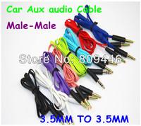 500pcs/lot DHL Free 3.5mm to 3.5mm Male-Male flat type Car Aux audio Cable ,Best sale