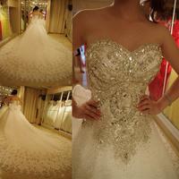 2013 sparkling crystal luxury diamond decoration wedding dress tube top bandage luxury train wedding dress bride