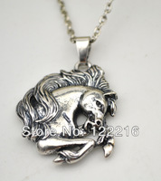 free shipping Best quality 10pcs a lot antique silver plated animal horse head pendant Necklace