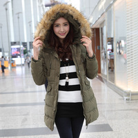 2013 large fur collar with a hood medium-long slim thermal cotton-padded jacket outerwear