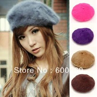Women'S Elegant Multicolor Artist Rabbit Fur Lapin Newsboy Beanie Beret Hat   free shipping 5464