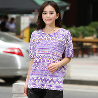 2013 summer 100% cotton national trend o-neck shoulder width print short-sleeve T-shirt