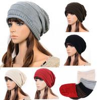 Unisex Winter Plicate Baggy Beanie Knit Crochet Ski Hat oversized slouch Cap  free shipping