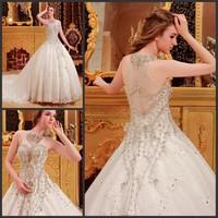 Ultimate luxury crystal wedding dress new arrival straps 2013 train wedding dress princess wedding dress xi6065