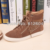 Shinny gold rhinestone flat sneakers women camel color suede leather sneaker lace up sports shoes high top shoes size 35 to 41
