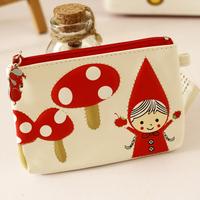coin purse Mushroom little red riding hood coin key purse coin case wallet