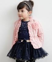 2014 Fashion 3pcs roupas de crianca Children Coat+T shirt+Skirt princess girls clothing sets buy wholesale clothes baby wear