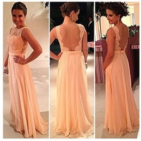 Free shipping!High quality nude back chiffon lace long prom dress peach color bridesmaid dress brides maid dress