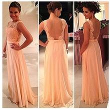 Free shipping!High quality nude back chiffon lace long prom dress peach color bridesmaid dress brides maid dress(China (Mainland))