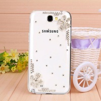 Transparent shell diamond black lucky clover case for Samsung galaxy not2 case for N7100 Mobile Border Protection free shipping