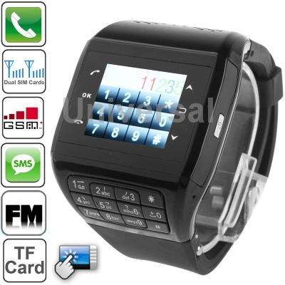 Q8 Black,Bluetooth/FM Radio Watch Phone,1.3 inch TFT Touch Screen Phone with Silica Gel Belt Design,Dual SIM Cards Dual Standby(China (Mainland))