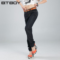 Btboy spring new arrival mid waist wash water fashionable casual straight jeans female repair