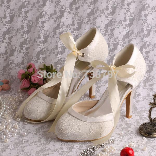 Magic Bride Name Brand Ribbon Bridal Wedding Boots Ivory Lace Short