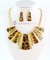 (Min order $10,Mix Order )Vintage Style Gold Chain Leopard Design Metal Collar Bib Necklace Earrings Set