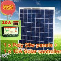 1 x Poly 20W solar panel+1 x 10A solar controller 20 High quality polycrystalline solar panel,Free shipping