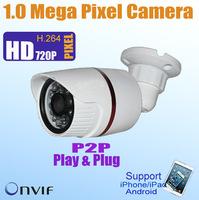 Free Shipping P2P Waterproof Bullet 720P 1 Megapixel IP camera, 20m IR Night View, ONVIF POE 1.0 Mega Pixel Network IP Camera