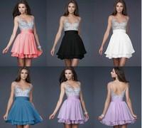 2014 Fashion Women Dress essexy Chiffon V-neck Above Knee Prom Ball Evening Dress Bueautiful Blue White