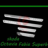 Skoda Octavia/Fabia/Superb car stainless steel scuff plate door sill 4pcs/lot car accessories for