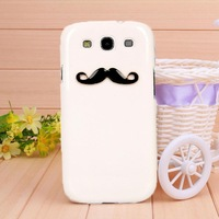 2014 New fashion black and white Beard case for Samsung GALAXY S3 case for I9300 Mobile Border Protection free shipping