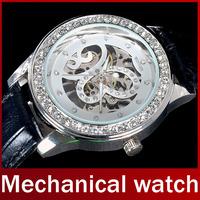Winner Genuine Leather Strap Watch Fashion Women Butterfly Skeleton Mechanical Watch Hand Wind Lady Diamond Dress Wristwatch