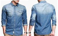Hot Sales ! 2014 New design ! Mens Fashion Casual Long Sleeve Snaps Denim Shirt Slim Fit Blue XL XXL FC-13572