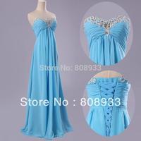 Fast Delivery 2014 Long Blue Bandage Strapless Women Elegant Evening Dress CL3518-1#
