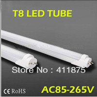 FedEX Free shipping led fluorescent 18W 1200MM T8 LED Tube Light High brightness SMD2835 25LM/PC 96led/PC 2400LM AC85-265V