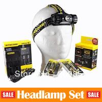Promotions Set NiteCore Head Lamp Series HC50 Head Light 565LM LED Lantern + Intelligent Charger I2 + 2 Pcs Long Burn Life 18650