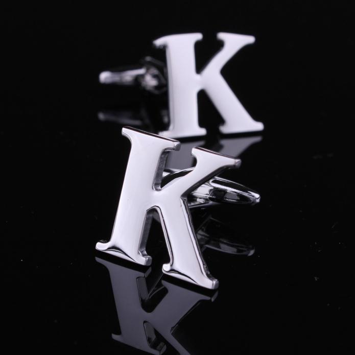 Ordem Mini 15 dólares de prata de alta qualidade carta Inglês K abotoaduras cufflink abotoaduras para homens homens franceses camisa jóias(China (Mainland))