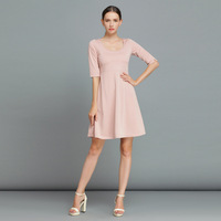 2014 Spring Newest Simple Fashion Ladies Pale Pink Princess Dress Women's High Quality Knee Length Dresses
