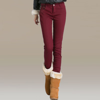 Winter plus velvet thickening jeans female elastic candy multicolour pencil pants