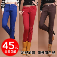 Candy color plus velvet thickening pencil pants female 100% cotton multicolour elastic skinny pants denim pants