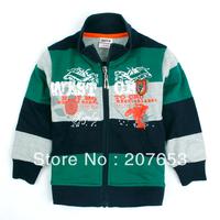 2014 new high quality NEW Free shipping 5pcs/lot children clothing boy outerwear boy stripe jacket boy zipper coat   1-6years