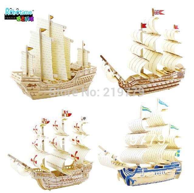 Kids DIY Ship Model Building Kits Toy 3D WOOD PUZZLE WOODCRAFT CONSTRUCTION KIT Sailing Boat Intelligence Education toy(China (Mainland))