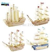 Kids DIY Ship Model Building Kits Toy 3D WOOD PUZZLE WOODCRAFT CONSTRUCTION KIT Sailing Boat Intelligence Education toy
